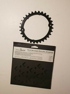 Absolute Black Gravel Oval Chain Ring Sub-Compact 30T 1104 2x Chainring Shimano