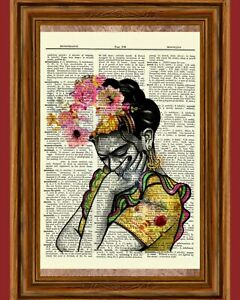 Frida Kahlo Vintage Dictionary Art Print Book Picture Poster $5.99