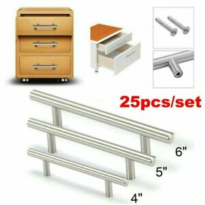 25 Pack Stainless Steel Kitchen Cabinet Door Knob T Bar Drawer Handle Pulls USA