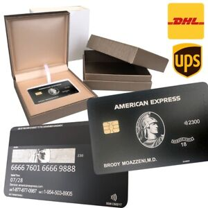 Custom 304 Stainless Steel American Express Centurion Black Card w/ chip