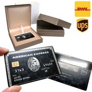 Custom 304 Metal American Express Centurion AMEX Black Card w/ chip strip box
