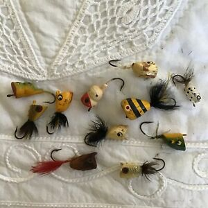 Lot of 11 Antique Vintage Tiny Wood Fly Rod Popper Lure Single Hook #41