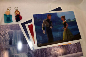 Disney Frozen Lithograph 2014 Set Of 3 & Cover 2 String Doll Keychains Anna Elsa
