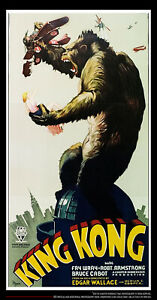 KING KONG 1933 S2 FINE ART LITHOGRAPH 41x81 US Three Sheet Movie Poster