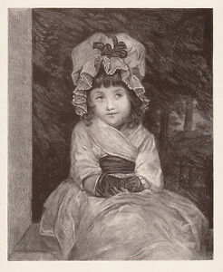 Sweet 1800s Joshua REYNOLDS Antique Stone Lithograph