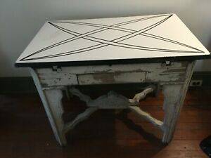 Antique Porcelain Kitchen Table Art Deco Beautiful White and Black Design 1935