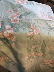 JP Stevens Fifth Ave Grand Tier Floral Queen Fitted & Flat Sheet Green Teal Pink