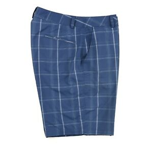 Under Armour Flat Front Golf Shorts Blue Check Pattern Men's Size 36