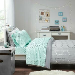 Luxury 3pc Aqua Blue & Silver Metallic Dot Printed Sheet Set - TWIN