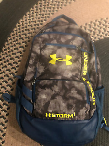 Under Armour Hustle II Storm Backpack 1263964 Blue Orang 18 X13 X 8
