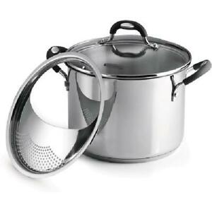 Tramontina Lock-N-Drain Durable Stainless Steel 6Quart Covered Stock Pot,3 Count