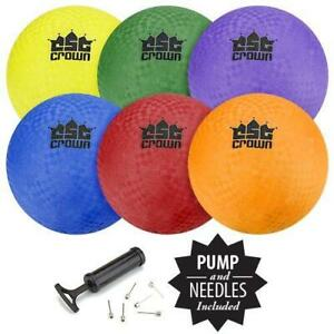 Crown Sporting Goods Set of 6 Playground Balls with Hand Pump and Needles ï¾–...