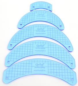 """Set Of Quilting Rulers Curves 1 4"""" Thick Longarm Midarm Blue $105.00"""