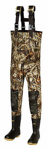 New Men 3mm MAX-4 Camo FishingHunting Neoprene Wader Lug Boots Size 12 Stout