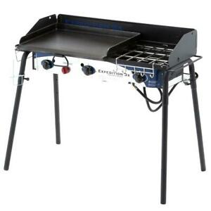 3-Burner Portable Propane Gas Grill Stove with Griddle Outdoor Cooking Camping