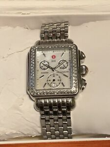 MICHELE DECO DIAMOND WEIGHT 0.60ct CHRONO STAINLESS STEEL WRISTWATCH EXTRA BANDS