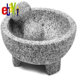 Imusa 8 Inch Granite Mexican Molcajete Mortar and Pestle Spice Grinder
