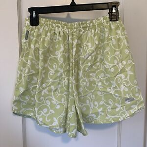 Brooks For Women Size Large Green White Floral Running Shorts High Waist