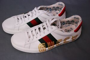 Awesome GUCCI men's Sega font Ace white sneakers shoes sz 7  US 8