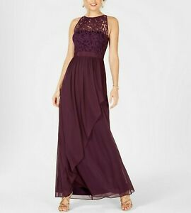 Adrianna Papell Lace Illusion Halter Gown MSRP $179 Size 4 # 2NB 283 Blm $15.94