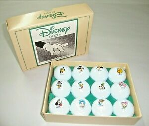 NEW 1990'S BOXED SET 12 DISNEY GOLF BALLS CHARACTERS MICKEY DUMBO GOOFY & MORE