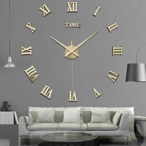 New Modern DIY 3D Large Wall Clock Mirror Surface Sticker Art Design Home Decor
