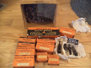 VINTAGE LOT OF LYMAN BULLET RE-SIZERSBULLET MOLD DIES MOLD BLOCKSLUBE