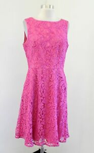 NWOT New Adrianna Papell Pink Peach Lace Illusion A Line Cocktail Party Dress 10 $39.99