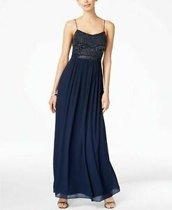 Adrianna Papell Beaded Chiffon Gown MSRP $199 Size 6 # 7B 1293 Blm $16.49