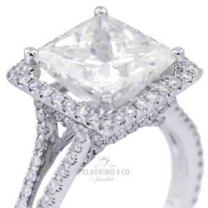 7 CT D SI1 Radiant Cut Natural Certified Diamonds 18kw Gold Halo Side-Stone Ring