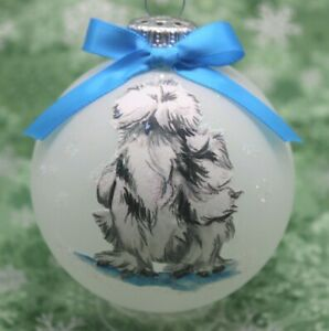 B039 Hand made Christmas Ornament chicken grey splash silky silkie hen rooster
