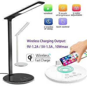 USB Charge LED Desk Table Lamp + QI Wireless Phone Charger Reading Study Light
