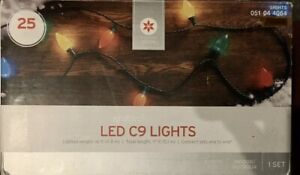 NIB Wondershop Target Holiday Multicolor Transparent C9 Lights Christmas~25 ct