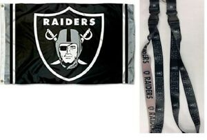 NEW Oakland Raiders Football Flag Large 3#x27;X5#x27; NFL Banner amp; Lanyard Gift