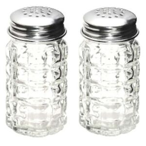 Textured Glass Salt and Pepper Shakers Vintage-Retro Style Stainless Steel Lids