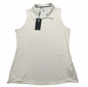 Under Armour Womens Rally Fitted Sleeveless Golf Polo Shirt White Sz Large NEW