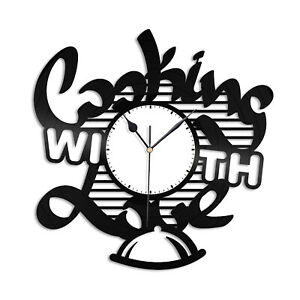 Cooking with Love Vinyl Wall Clock Unique Design Home and Kitchen Decoration