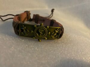 Bracelet Unisex Adjustable BROWN Leather Anchor BRACELET NEW