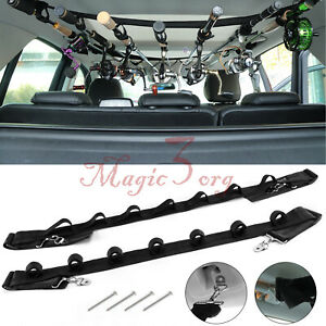 7 Slot Vehicle Fishing Rod Rack Pole Holder Belt Strap Carrier Truck SUV Car