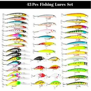 Minnow Lure Kit Pack Of 43pcs Assorted Crankbait Tackle Mixed Bass Fishing Lures