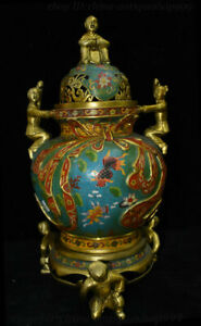 22 Antique China Dynasty Bronze Cloisonne Enamel Boy Fish Incense Burner Censer