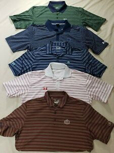 NICE LOT 5 UNDER ARMOUR SHORT SLEEVE GOLF POLO STRIPED SHIRT MEN XL POLYESTER