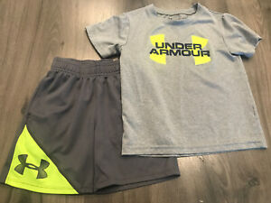 Under Armour 4 Toddler Boys Shirt Shorts Outfit Set Gray Neon