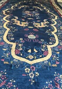AN AWESOME ANTIQUE VINTAGE DESIGN CHINESE DRAGON PALACE SIZE RUG