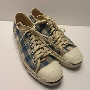 Vintage Converse Jack Purcell shoes MADE IN USA Blue Plaid Size Mens 9