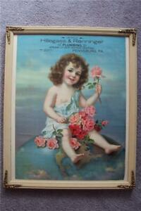 CHROMOLITHOGRAPH ADORABLE GIRL ON TOP OF THE WORLD WITH ROSES BEAUTIFUL FRAMED