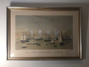 RARE ANTIQUE CURRIER & IVES 1872 CHROMOLITHOGRAPH THE YACHT SQUADRON AT NEWPORT