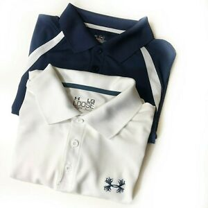 Under Armour Heat Gear Polo Shirt Sz Large Lot of 2 Solid White Navy Blue Golf