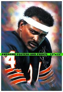 WALTER PAYTON CHICAGO BEARS SIGNED LITHOGRAPH POSTER 13x19 REPRINT
