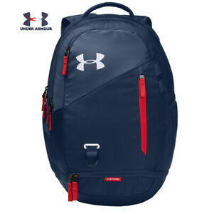 Under Armour UA Hustle 4.0 Backpack Academy Blue White Red Laptop School 1342651